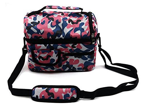 Lkous 8L Cooler Bags Fit and Fresh Lunch Bag for Working Camping Outdoor Hold Cold Within 4-5 Hours Waterproof Insulation Package Tote Bag(Camouflage (Pink Camo Lunch Box)