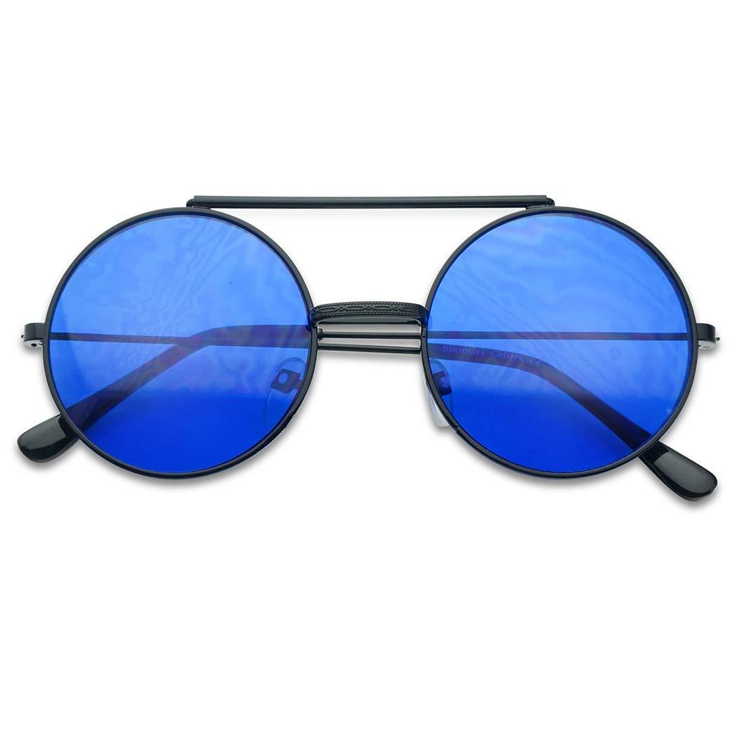 Round Circular Django Flip-Up Steampunk Inspired Metal Two in One Sunglasses