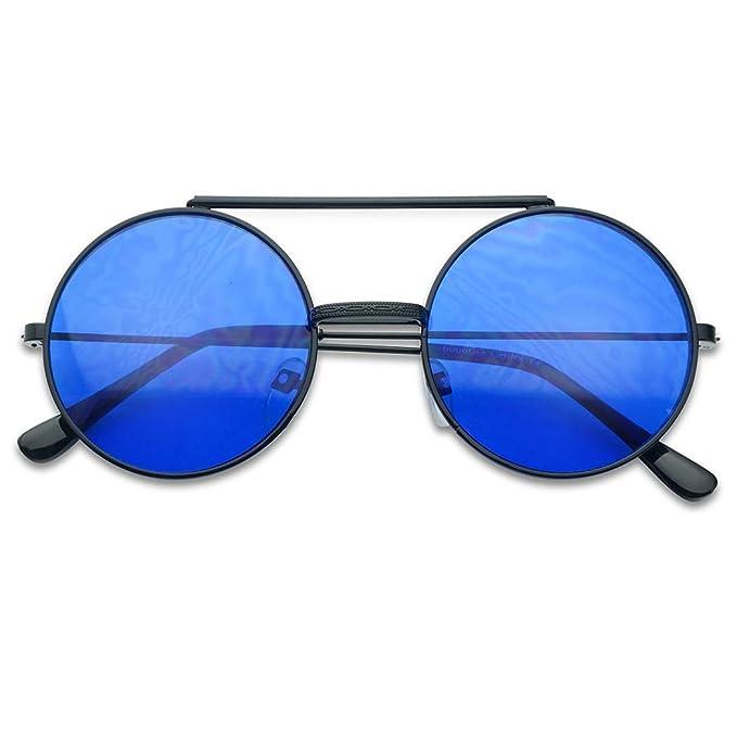 cec2d0b5b4 Round Circular Django Flip-Up Steampunk Inspired Metal Two in One Sunglasses  (Black Frame
