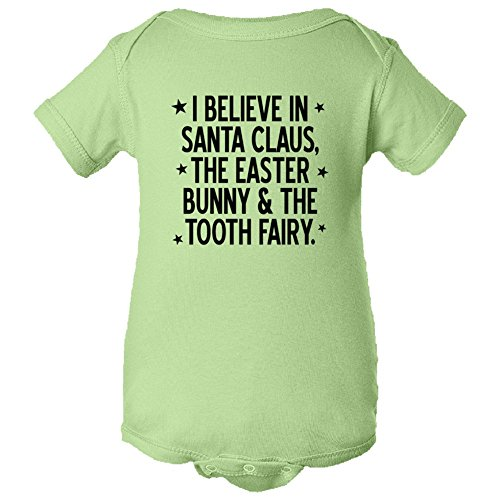 Baby Onesie - I Believe In Santa Claus, The Easter Bunny & The Tooth Fairy - Rabbit Skins Mint (24 Months) ()