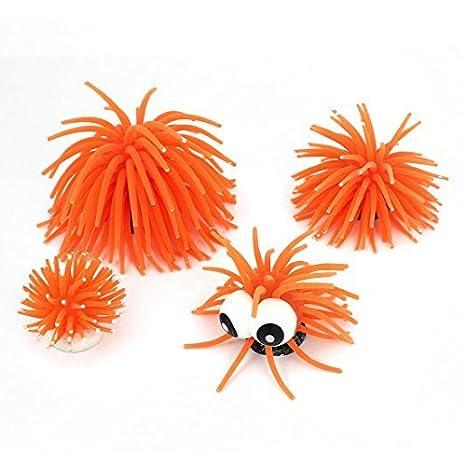 Silicona peces de acuario tanque artificial Coral Decoración 6 cm de alto 4 PC Naranja: Amazon.es: Productos para mascotas