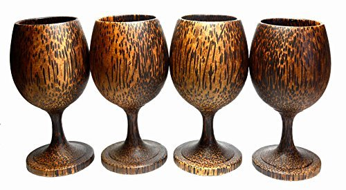 Set 4 Handmade Wooden Wine Glass Glasses (Palm Wood) - A by We Are Handmade Dinnerware
