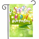 ShineSnow Celebrate Happy Birthday Garden Yard Flag 12''x 18'' Double Sided, Colorful Balloon Polyester Welcome House Flag Banners for Patio Lawn Outdoor Home Decor