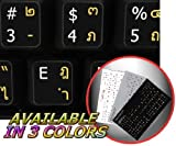 THAI-ENGLISH NON-TRANSPARENT KEYBOARD STICKERS BLACK BACKGROUND FOR DESKTOP, LAPTOP AND NOTEBOOK