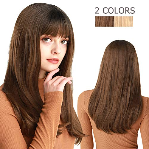 Styling Synthetic Wigs Halloween (Long Straight Wigs with Bangs 22