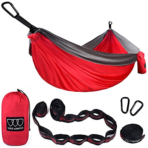 Gold Armour Camping Hammock - XL Double Parachute Camping Hammock (2 Tree  Straps 16 LOOPS/10 FT Included) Lightweight Nylon Portable Hammock, Best