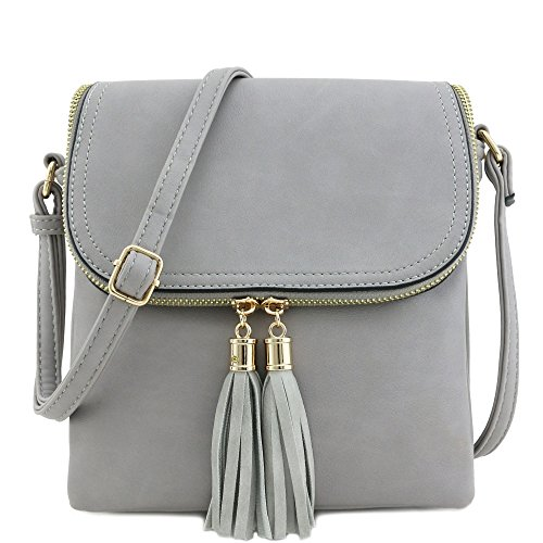 Flap Top Double Compartment Crossbody Bag with Tassel Accent (Grey) (Cross Body Flap Bag)