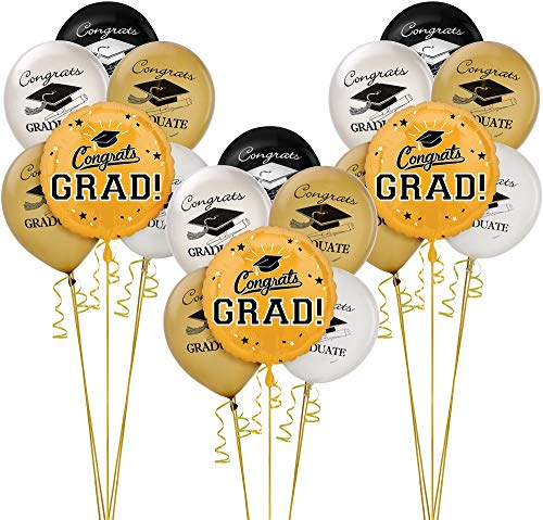 Party City Gold Graduation Balloon Kit, Includes Foil and Latex Balloons, Plus Curling Ribbon and Foil Balloon Weights]()