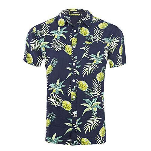 (ZHPUAT Men's Hawaiian Shirt Short Sleeve Beach Party Flower Button Down Shirts-GD024-16-S )