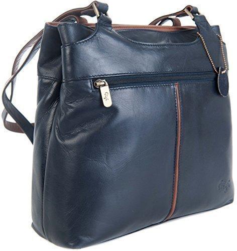Gigi - Bolso al hombro para mujer Varios colores Honey & Dark brown large Azul Marino & Marrón Medio