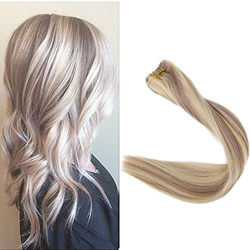 Full Shine 18 inch Weave in Hair Extensions Double Wefted Brading Remy Hair Blonde Highlighted Color 18 Ash Blond and #613 Blonde 100g Per ()