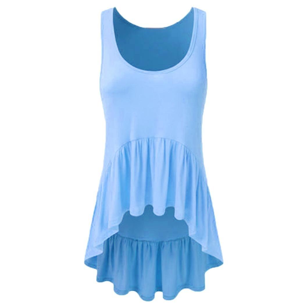 iQKA Women Casual Sleeveless Basic Ruffle Irregular Tunic Tank Top Vest Shirt Blouse