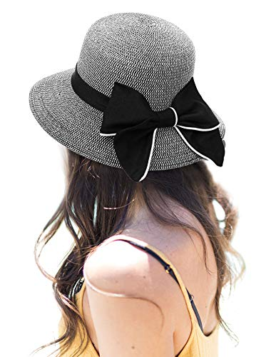 AbbyLexi Women's Lovely Wide Brim Visor Straw Bucket Sun Hat w/Bow, Black ()