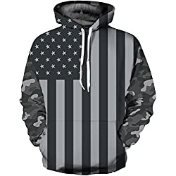 Unisex Fashion 3D Digital Galaxy Pullover Hoodie Hooded Sweatshirt Athletic Casual with Pockets(Camouflage, S/M)