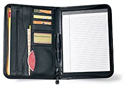 Gemline Deluxe Executive Vintage Black Leather Zippered Padfolio