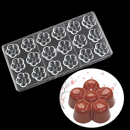 18 Holes Blossom Flower Shape Polycarbonate Chocolate Mold 3D Chocolate Making Molds DIY PC Jelly Candy Pudding Moulds Chocolate Bar Maker Mold Tray Non Stick Ice Cube Trays Pastry Baking Bakeware Pan