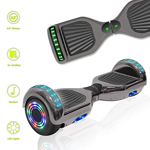 TechClic Electric Hoverboard Self-Balancing Hoover Board with Built in Speaker LED Lights Wheels UL2272 Certified (Chrome Black) ()