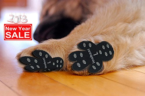 Non Slip Pads Dogs (Loobani 48 Pieces Dog Paw Protector Traction Pads To Keeps Dogs From Slipping On Floors, Disposable Self Adhesive Shoes Booties Socks Replacement, 12 Sets for 4 Paws (L-1.69