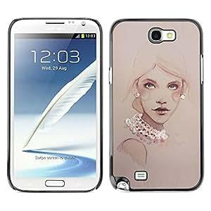 Paccase / SLIM PC / Aliminium Casa Carcasa Funda Case Cover - Design Pearls Woman Art Painting - Samsung Note 2 N7100