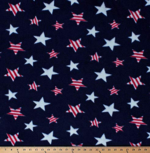 Fleece Patriotic Stars Red and White on Blue USA United States of America Independence Day Fourth of July Fleece Fabric Print by The Yard (A617.20)