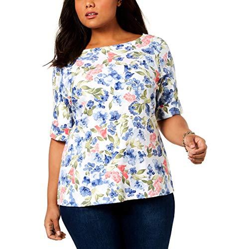 Karen Scott Womens Plus Floral Print Boatneck T-Shirt Blue 2X from Karen Scott