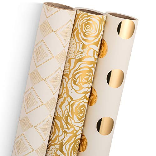 Wrapping Paper by MERRI | Gold Gift Wrap for Christmas, Birthday, Wedding, Mother Day, Valentine's Day & Baby Shower | Set of 3 - Gold Foil Pokka Dot, Rose and Diamond Design | 30 X 120 inch
