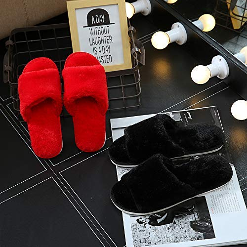 Wanrane Indoor Cozy Warm Slippers Couple Home Cotton Slippers Womens Platform Winter Korean Fashion Indoor Non-Slip Household Plush Slippers Color : Red, Size : 3