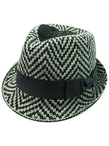 Luxury Divas Black & Grey Zigzag Angora Wool Fedora Hat