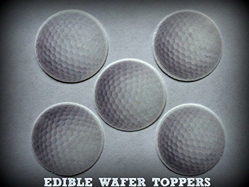 24 GOLF BALLS BALL SPORTS PRECUT EDIBLE CUPCAKE TOPPERS 1.5