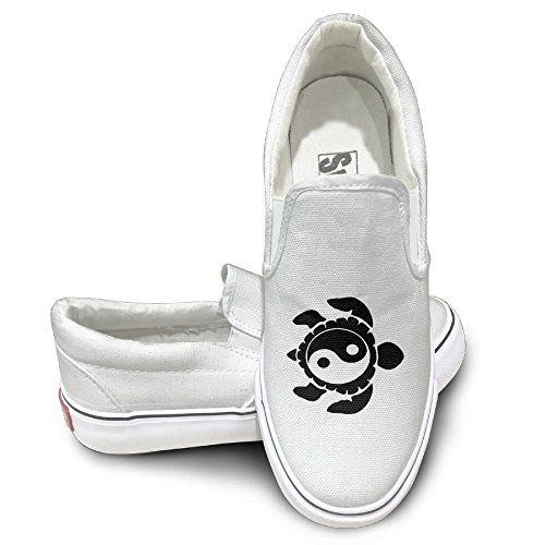SH-rong Taichi Yin Yang Turtle Unisex Canvas Sneakers Shoes Size 35 White