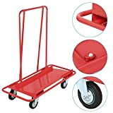 go2buy Steel Drywall Cart 2000lbs Capacity with 2 Fixed and 2 Swivel Heavy Duty Casters, Red