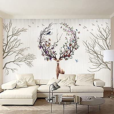 XLi-You 3D Nordic tv wall personalized creative wallpaper Elk Grove living room bedroom wall painting