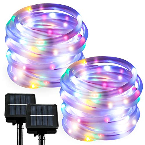 2 Pack RGB Solar Rope Lights Outdoor LED String Lights Waterproof Fairy Lights for Garden Patio Party Decoration Dusk to Dawn 23FT