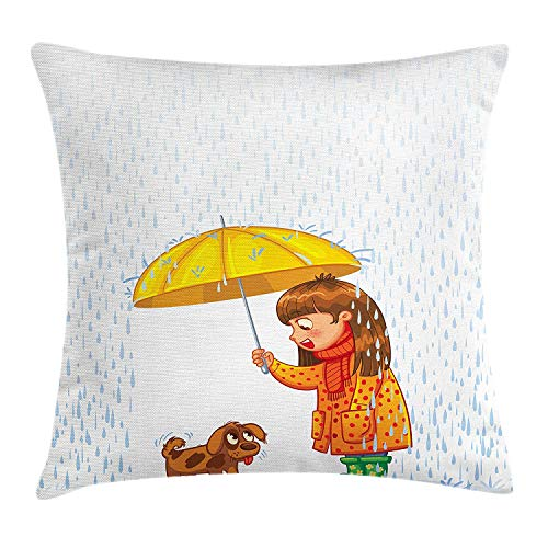 lsrIYzy Nursery Throw Pillow Cushion Cover, Compassion Themed Girl Sheltering a Stray Puppy in The Rain Cartoon Happy Animal, Decorative Square Accent Pillow Case, 18 X 18 inches, Multicolor