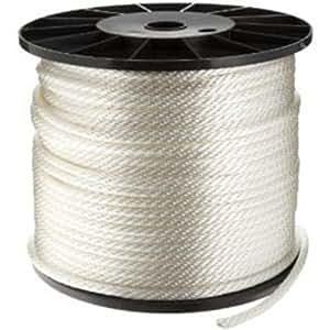 "CWC Solid Braid Nylon Rope - 3/16"" x 1000 ft., White"