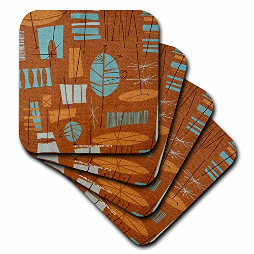 - Lee Hiller Designs 50s Retro Print - Retro 50s Atomic Tiki Print Bronze Turquoise - set of 8 Coasters - Soft (cst_4965_2)