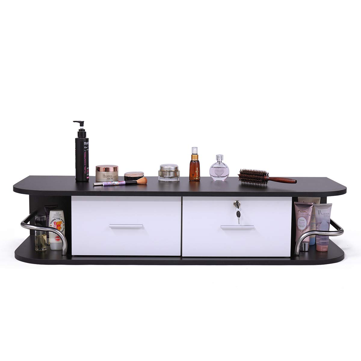 JAXPETY Locking Wall Mount Styling StationwithStainless Steel Top, Black Metal Tabletop Appliance Holder & Two Drawers (White)