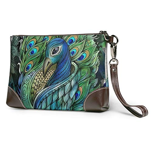 PEACOCK Leather Wristlet Clutch Bag Zipper Handbags Purses Phone Wallets With Strap Card Slots