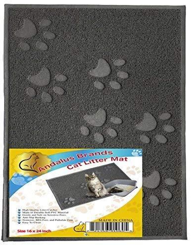 ANDALUS Cat Litter Mat, Gray, Large (24 x 16)