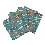 Roostery Pin Ups Organic Sateen Dinner Napkins Pin Up Fitness by Kociara Set of 4 Cotton Dinner Napkins made by