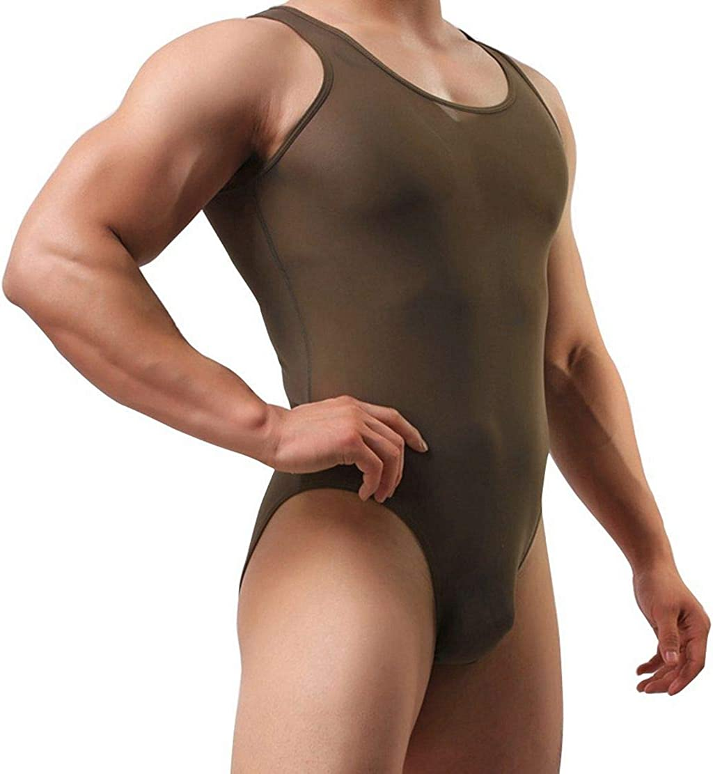 Agoky Mens One Piece Mesh Jockstrap Bodysuit Leotard Bikini Briefs Underwear Lingerie