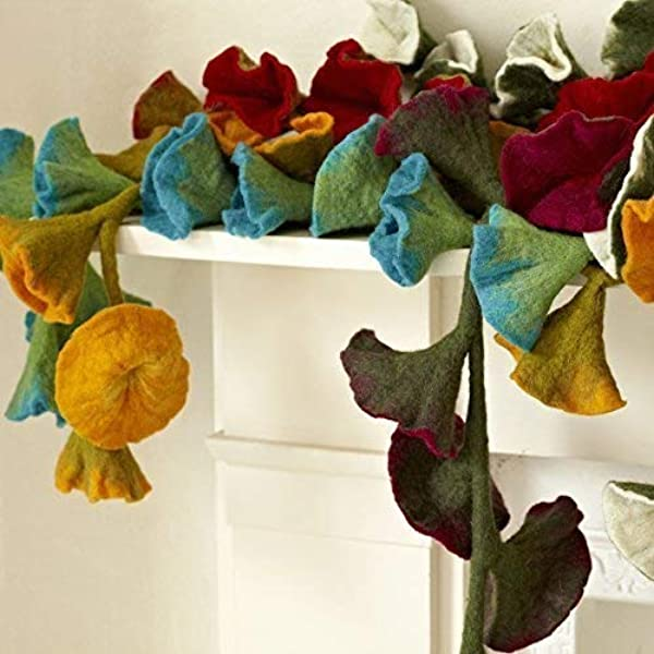 Flower of felt  with garland romantic hanging flowers for the apartment