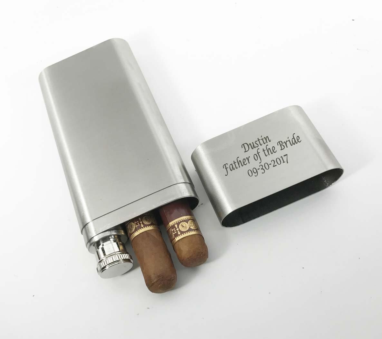 Tube /& Flask Free Engraving Groomsmen Gifts-Personalized Engraved Custom Stainless Steel Cigar Case Set of 5 Bulk Discount