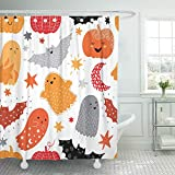 Emvency 66'x72' Shower Curtain Waterproof Orange Cute Hand Drawn Bright Halloween Nursery Autumn Bat Bedding Black Child Home Decor Polyester Fabric Adjustable Hook Set