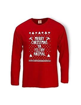 86ed78bd4 Merry Christmas Ya Filthy Animal Red Large Long Sleeve T-Shirt, Tops -  Amazon Canada