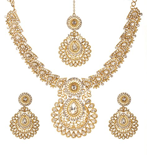 Bindhani Indian Bollywood Traditional Jewelry Wedding Bridal Necklace Earrings Tikka Set for Women