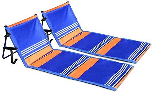Leader Accessories Deluxe Portable Folding Reclining Lounger Beach Chair - Perfect for Beach and Camping (Model C:Stripe Blue W/O Armrest,2-Pack)