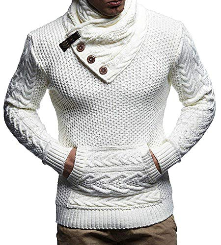 Mens Turtleneck Cable Knit Chunky Pullover Sweaters Button Up Long Sleeve Fall Warm Slim Fit Ribbed Tops