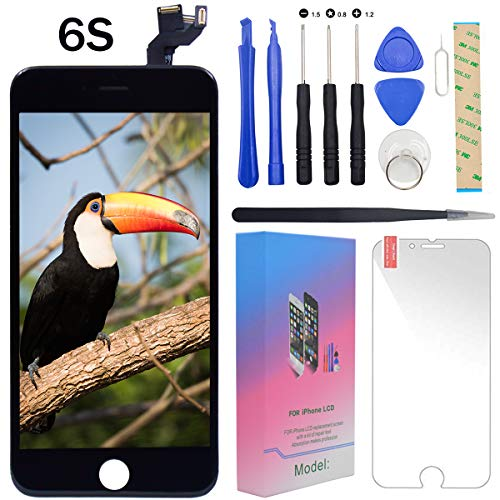 """For iPhone 6s Screen Replacement Lcd Black - 4.7"""" Display with 3D Touch [Front Camera] [Proximity sensor] [Ear Speaker] [Repair Tools] Full Assembly Digitizer Glass Kit for iPhone 6s (Black)"""