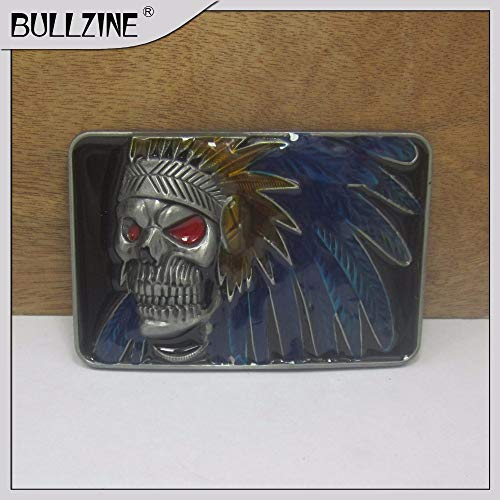 (Buckes - The Wholesale Indian Skull Belt Buckle with Pewter Finish FP-03450 Suitable for 4cm Width Belt)